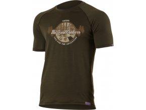 Lasting LUCAS 6363 zelené pánské vlněné merino triko s tiskem