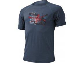 URBAN 5656 modré pánské vlněné merino triko s tiskem