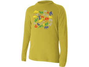 HARO 6464 hořčicové Vlněné Merino triko s tiskem