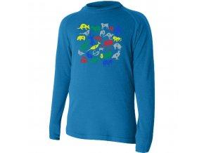 HARO 5151 modré Vlněné Merino triko s tiskem