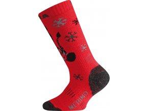 WJS 389 červená merino ponožky junior