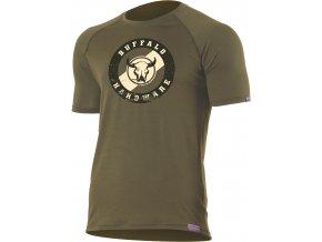 Lasting  BUFFALO 6363 zelené pánské vlněné merino triko s tiskem