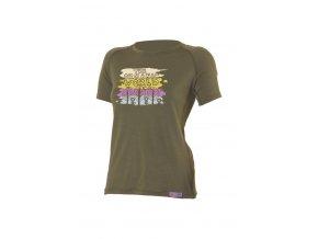 Lasting ORGANIC 6363 zelené vlněné merino triko s tiskem