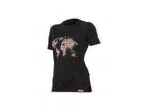 Lasting FLOWER 9090 černé vlněné merino triko s tiskem