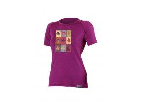 Lasting LIST 4848 růžové vlněné triko s tiskem