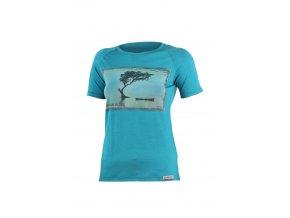 Lasting LAKE 5858 modré vlněné merino triko s tiskem