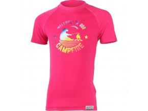 Lasting  BEAR 4747 růžové Vlněné Merino triko s tiskem