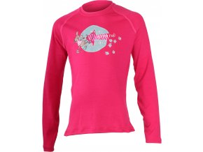 Lasting  GONNA 4747 růžové Vlněné Merino triko s tiskem (Velikost 160)
