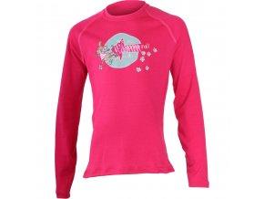 Lasting  GONNA 4747 růžové Vlněné Merino triko s tiskem