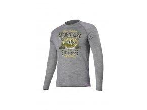 Lasting LAND 8484 šedé vlněné merino triko s tiskem