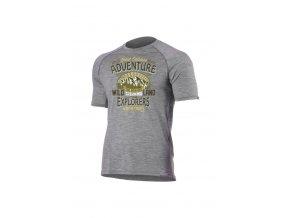 Lasting WILD 8484 šedé pánské vlněné merino triko s tiskem