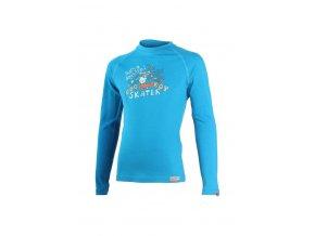 Lasting SKATER 5151 modrá vlněné merino triko s tiskem