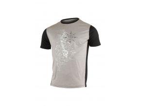 Lasting LEMON 8290 šedé vlněné merino triko s tiskem