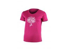 Lasting LUNA 4545 růžové vlněné merino triko s tiskem