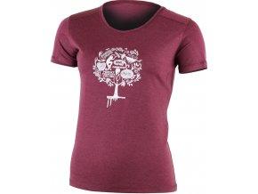 Lasting LUNA 3838 vínové vlněné merino triko s tiskem