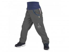 unuo softshellové kalhoty bez zateplení Antracitové + reflexní obrázek Evžen (Softshell kids trousers) (Velikost UNI (Size) 128/134)