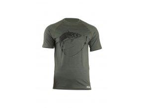 Lasting SALMON 6262 zelené pánské vlněné merino triko s tiskem