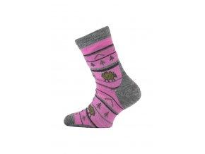 Lasting TJL 408 růžová merino ponožka junior slabší  ponožky
