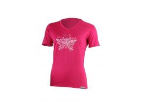 Lasting dámské merino triko s tiskem MANUELA růžové