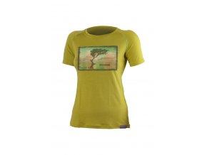 Lasting LAKE 6464 dámské merino triko s tiskem hořčicové