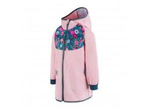 unuo Softshellový kabátek bez zateplení Květinky, Sv. růžová (Unuo softshell spring coat printed) (Velikost UNI (Size) 128/134)