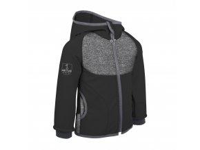 ! F unuo Softshellová bunda s fleecem DUO Melír šedý s černou + reflexní obrázek Evžen na zádech (Unuo softshell jacket) (Velikost UNI (Size) 128/134)
