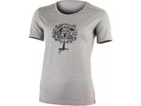 Lasting dámské merino triko s tiskem LUNA šedé