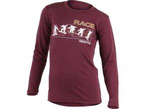 Lasting dětské merino triko s tiskem RACE vínové