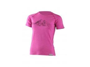 Lasting dámské merino triko s tiskem HILA růžové