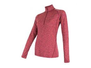 SENSOR MOTION dámské triko dl.rukáv zip růžová