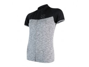 SENSOR CYKLO MOTION dámský dres kr.rukáv celozip šedá/černá