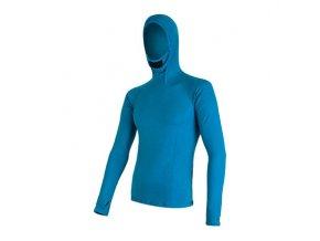 SENSOR MERINO DF pánské triko dl. rukáv s kapucí modrá