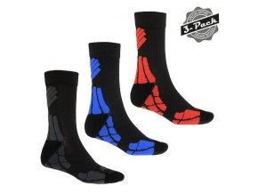 SENSOR PONOŽKY HIKING MERINO WOOL 3-PACK šedá/červená/modrá  ponožky