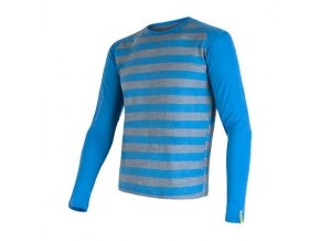 SENSOR MERINO ACTIVE pánské triko dl.rukáv modrá pruhy