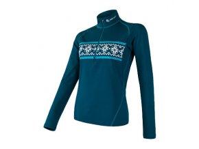 SENSOR THERMO dámské triko dl.rukáv zip safír/vzor