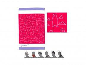 SENSOR multifunkční šátek bears růžový