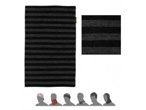 SENSOR Tube merino wool šátek multifunkční černá/tm. šedá pruhy