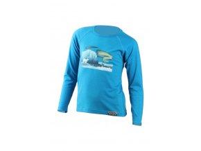 Lasting dětské merino triko s tiskem POLAR modré