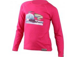 Lasting dětské merino triko s tiskem POLAR růžové