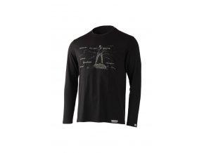 Lasting pánské merino triko s tiskem FREEDOM černé