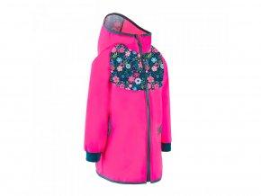 Unuo, Softshellový kabátek s fleecem, Fuchsiová, Květinky (Fleece softshell coat flowers fuchsia) (Velikost (Size) 86/92)