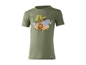 Lasting dětské merino triko ANIM zelené