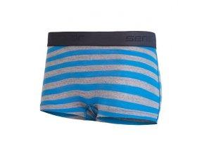 SENSOR MERINO ACTIVE dámské kalhotky s nohavičkou modrá/šedá tenké pruhy