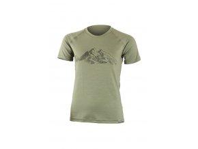 Lasting dámské merino triko s tiskem  HILA zelené