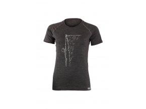 Lasting dámské merino triko s tiskem  KAHOR šedé