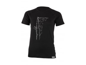 Lasting dámské merino triko s tiskem  KAHOR černé