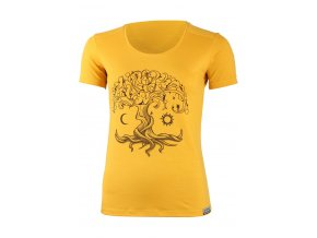 Lasting dámské merino triko s tiskem KASTRO žlutá