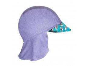 Unuo, Dětská funkční čepice s kšiltem a plachetkou UV 50+, Žíhaná Holubičí Šedá, Žraloci