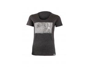 Lasting dámské merino triko s tiskem KASA šedé