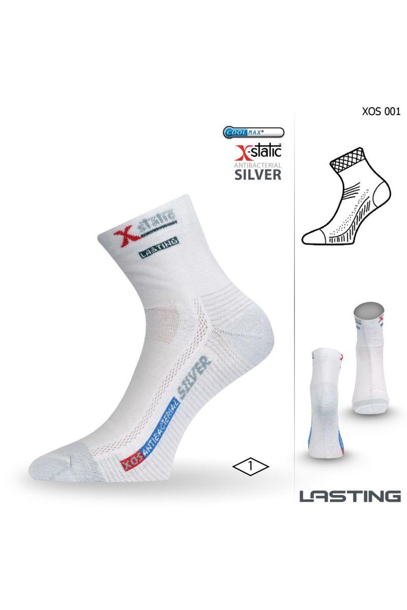 Lasting XOS 001 bílá ponožky se stříbrem Velikost: (38-41) M